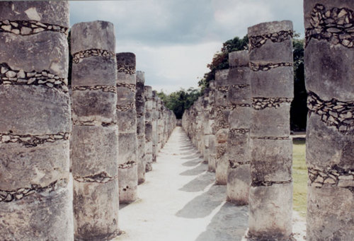 Columns in the Temple of a Thousand Warriors, Chichen Itza